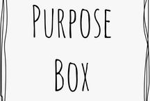 Purpose Box / Mail that matters. Purpose Box is a bi-monthly subscription box filled with purchase with purpose goods. Each shipment is a surprise, and each box supports a purpose!