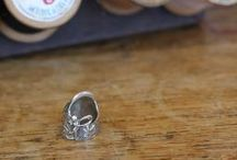 in the shop : thimbles at Crimson Tate / These thimbles are hand made, and they are bea-utiful!