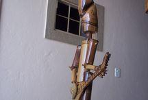 arte em bambu e seixo