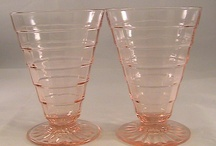 Depression Glass / Funny how something that was considered cheap and given away has become so expensive and collectible. I like the pink best. Obviously.