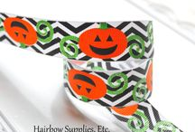HSE Halloween / Your One-Stop Hairbow Supply Shop!  Solid and printed grosgrain ribbon, alligator clips, silk flowers, 60 styles of fold over elastic, glitter elastic, lace elastic, rhinestone buttons, and so much more!   / by Hairbow Supplies, Etc.