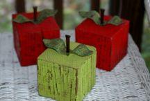 drewniane jabłka