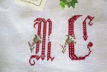 * Hand embroidery by me * / For the love to alphabets on Linen my passion see my Etsy shop search  linenartisan.Etsy.com