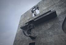 "Arrchitecture historical reconstruction refferences / Architecture Contest:'House of Grief"", mortuary architecture, church, dark spaces, concrete"