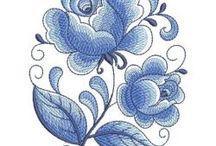 embroidery white/blue/ delft