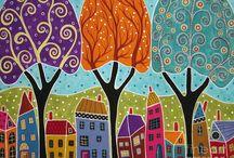 evler ve ağaçlar