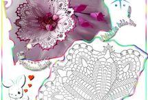 hačkovane květy