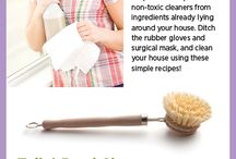 Cleaning Recipes- Non toxic / DIY recipes for cleaning around the home.  Non toxic and green and cheap.