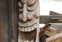 Drewno rzeźba szczęściarz