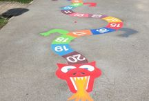 Playground Markings Colourful Animals / first4playgrounds installes a wide range of thermal plastic playground markings, some of our most freaquently sold and a lot of schools favourite of these installed markings are colourful animals with educational value.