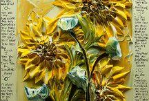 Schilder met dikke verf zonnebloemen