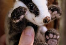 needle felted badger, skunk,armadillo