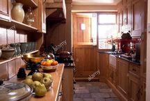 narrow country kitchen
