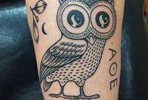 Tattoo civetta Atena