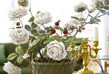 Flores y centros de porcelana