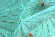 Umbrellas in Teal / Mint / Turquoise