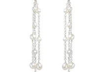long dangly earrings / stunning and very fashionable long dangly earrings in sterling silver pearls and gemstones