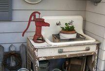 umývadlá v zahrade