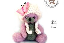 Ours et autres personnages de collection / sculptures d'ours et autres personnage de collection et de décoration miniatures en laine feutrée www.annickabrial.net