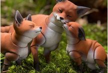 Toy fox and cat