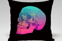Skull Cushions / This is a collection of artistic sugar skull cushion covers celebrating the day of the dead skull theme