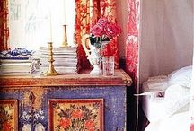 Atmospheric Asian Decor: chests, cupboards, wall paper and other inspirations