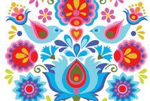folk motifs vibrant colours
