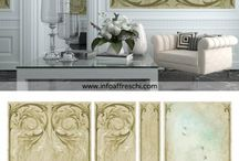 Living room wall decorations / The exquisite wall decorations we produce are made on a 1mm layer of rollable plaster, a completely handmade backing and they are installed directly on site.