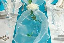 Tischdekoration türkis blau