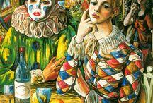Pierrots, Arlequines, payasos, bufones, saltinbanquis y acróbatas / No se trata de confundir a Pierrot o Arlequín con los payasos y saltinbanquis pero creo que, a veces, conviven en los mismo s escenarios: el Circo y el Carnaval / by Ximena María Muratsuka