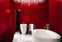 Red Bathrooms / Red, the colour of passion, looks great in a bathroom too.
