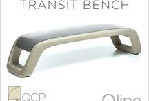 Introducing the Transit Bench / QCP is excited to introduce the new Transit bench. Designed by John Cook, the latest addition to the Qline collection, has a generous seating surface that is contoured to feel soft and inviting. QCP's proprietary new casting method enables the bench to be made in two integral colors with a continuous rebar cage for great strength and durability.