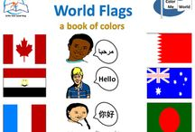 """World Flags: A Book of Colors (eBook) / Featuring World Flags: An Book of Colors. An exciting NEW eBook that pairs early learning concepts with COLORFUL stunning illustrations of flags around the world. This eBook portrays a different child for each flag (10 flags) saying, """"Hello"""" in the official language of that country. This eBook offers your students or child an opportunity to illustrate each flag (10) from around the world."""