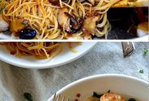 Soy sauce pasta shrimp & mushrooms