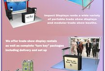 Rental Trade show displays / Impact-Displays offers trade show displays for rental. One can spend less money renting once than buying the same display, so that part of the evaluation is easy.