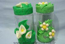 frascos decorados con porcelana