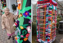 Knitted Crocheted Art / Grace Brett, a woman of 104 years living in Scotland, bombed the town with her knitted crocheted art.