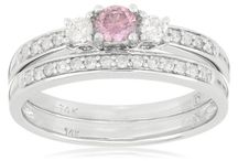 14k White Gold Pink and White Diamond Bridal Set Ring (1/2 cttw, G-H Color, I1-I2 Clarity)