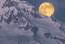 Beautiful mountains with moonlight shines