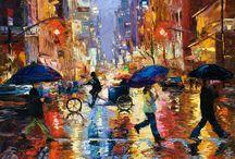 Rainy day streets / paintings