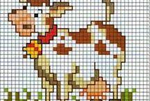 vaca en punto de cruz