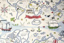 Papeles pintados infantiles / Papeles pintados infantiles y juveniles. Propuestas de Sanderson y Voyage, de venta en Gancedo.