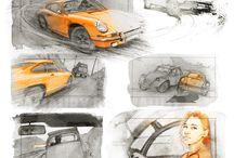 Automobiles / Automobiles, dessins et story boards