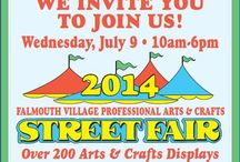 Arts and Crafts Street Fair 2014 / Wednesday, July 9, 2014  (rain date July 10th) 10 AM - 6 PM  Held each year on the second Wednesday in July, Falmouth Village Association brings in 200+ crafters and artists who set up shop along Main Street in Falmouth Village.  It's Christmas in July, when crafters from throughout New England gather in Falmouth Village for a shopping spree like no other.