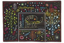 Ukuthunga (To sew) / Postcard with African sewing art
