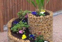 stones garden pot