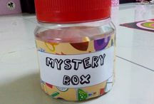 Mystery Box / it's a box with mystery question in it. it's suitable to encourage the children to answer from the question given.  1. prepare the question. write it on a paper 2. put the question in a box  3. let the children answer it
