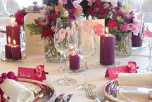 Tischdeko Pink-Grau