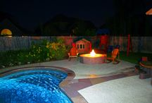Outdoor Fireplaces/Fire Pits / What better way to spend those crisp Fall nights or those cool Spring evenings.. Imagine relaxing in your hot tub with a fire going, the kids roasting marshmallows..  Imagine the ambiance!