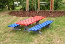 Recycled Plastic Children's Benches and Tables / Our recycled plastic children's benches and tables come in a variety of styles. They're aesthetically pleasing and fit in well with playground surroundings. Made from 100% recycled plastic you can take comfort in knowing that our children's benches and tables are weather proof, decay resistant and splinter free. Our hanit® recycled plastic benches and tables are the safest products for little hands!  http://www.hahnplastics.com/hanit-childrens-benches-and-tables/